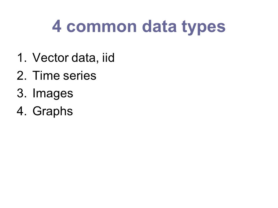 4 common data types 1.Vector data, iid 2.Time series 3.Images 4.Graphs