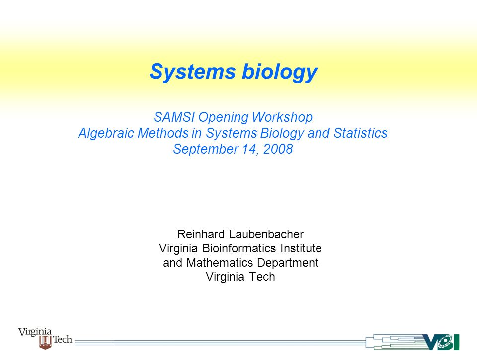 Systems biology SAMSI Opening Workshop Algebraic Methods in Systems Biology and Statistics September 14, 2008 Reinhard Laubenbacher Virginia Bioinform