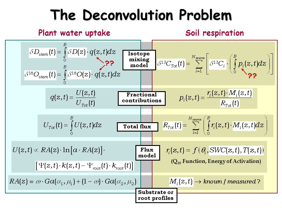 The Deconvolution Problem Plant water uptakeSoil respiration Isotope mixing model Fractional contributions Total flux Flux model Substrate or root pro