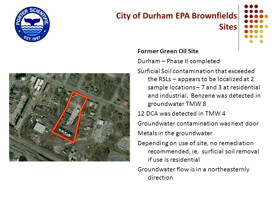 City of Durham EPA Brownfields Sites Former Green Oil Site Durham – Phase II completed Surficial Soil contamination that exceeded the RSLs – appears t