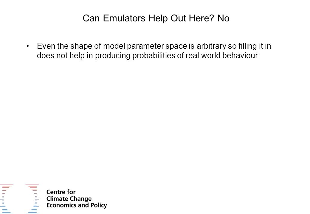 Can Emulators Help Out Here? No Even the shape of model parameter space is arbitrary so filling it in does not help in producing probabilities of real
