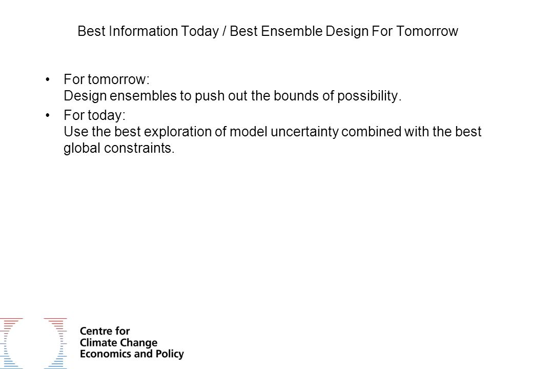 Best Information Today / Best Ensemble Design For Tomorrow For tomorrow: Design ensembles to push out the bounds of possibility. For today: Use the be