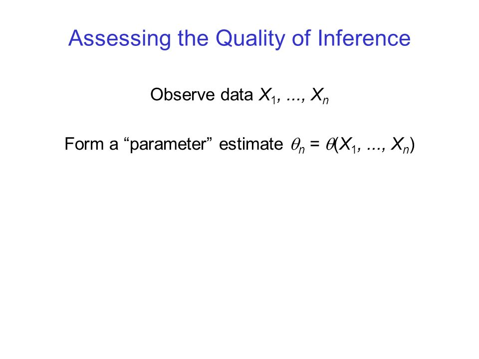 Assessing the Quality of Inference Observe data X 1,..., X n Form a parameter estimate n = (X 1,..., X n )