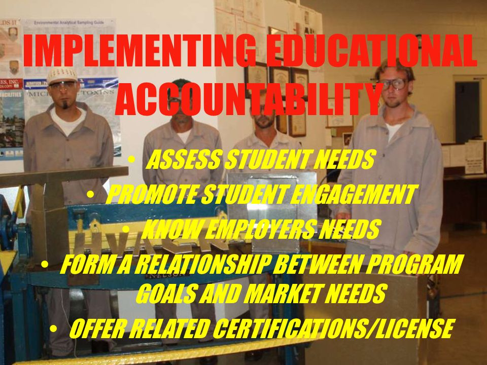 IMPLEMENTING EDUCATIONAL ACCOUNTABILITY ASSESS STUDENT NEEDS PROMOTE STUDENT ENGAGEMENT KNOW EMPLOYERS NEEDS FORM A RELATIONSHIP BETWEEN PROGRAM GOALS AND MARKET NEEDS OFFER RELATED CERTIFICATIONS/LICENSE