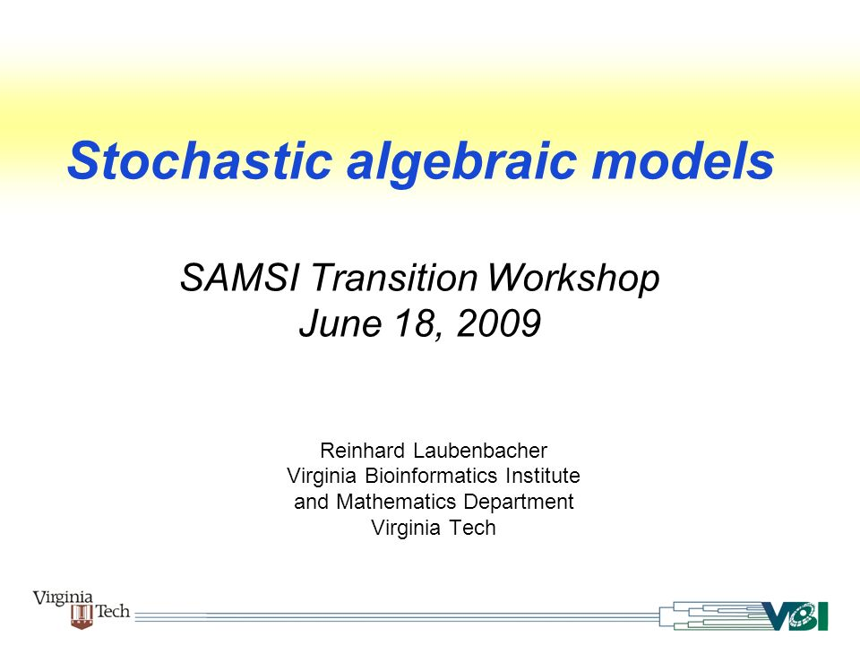 Stochastic algebraic models SAMSI Transition Workshop June 18, 2009 Reinhard Laubenbacher Virginia Bioinformatics Institute and Mathematics Department Virginia Tech