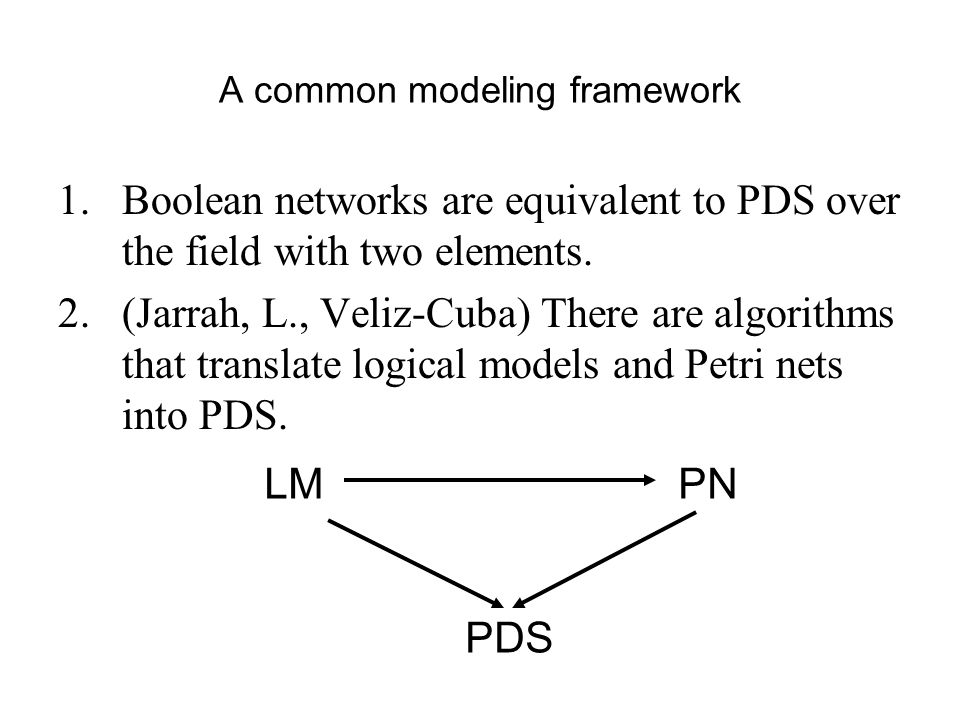 A common modeling framework 1.Boolean networks are equivalent to PDS over the field with two elements.