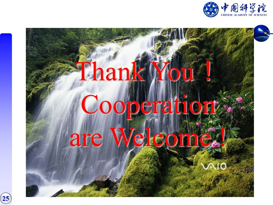 25 Thank You Thank You Cooperation are Welcome !
