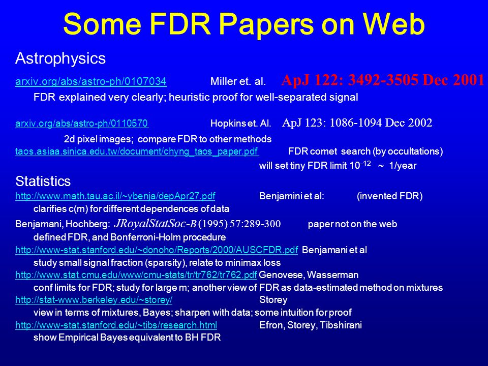 Some FDR Papers on Web Astrophysics arxiv.org/abs/astro-ph/0107034arxiv.org/abs/astro-ph/0107034 Miller et.