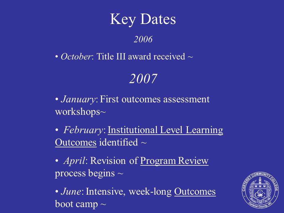 Key Dates 2006 October: Title III award received ~ 2007 January: First outcomes assessment workshops~ ~ February: Institutional Level Learning Outcome