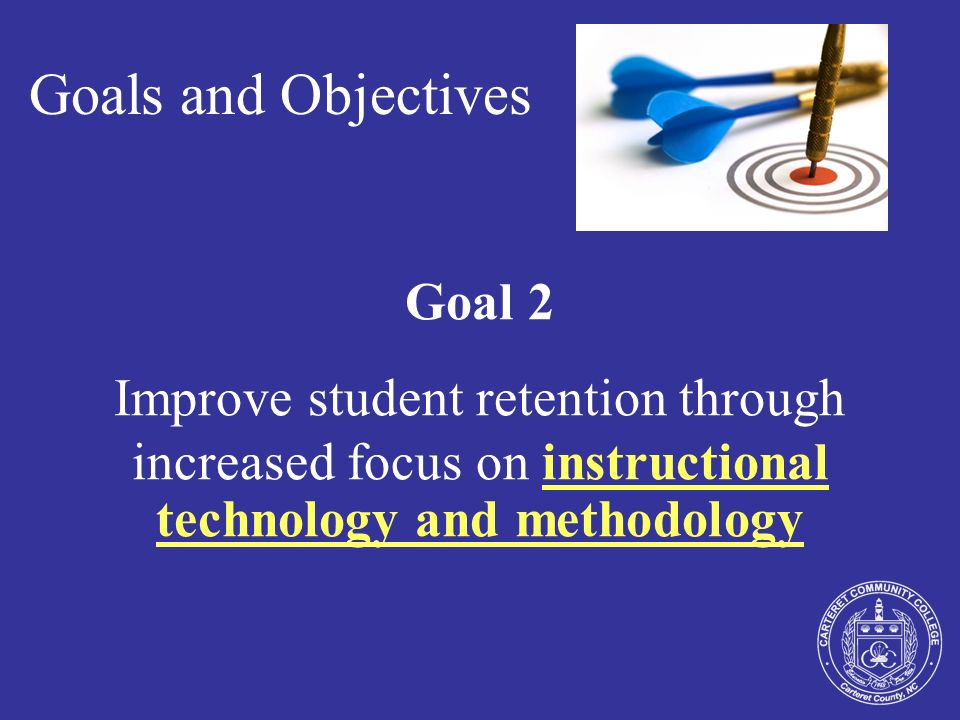 Goals and Objectives Goal 3 Improve student retention through increased focus on advising