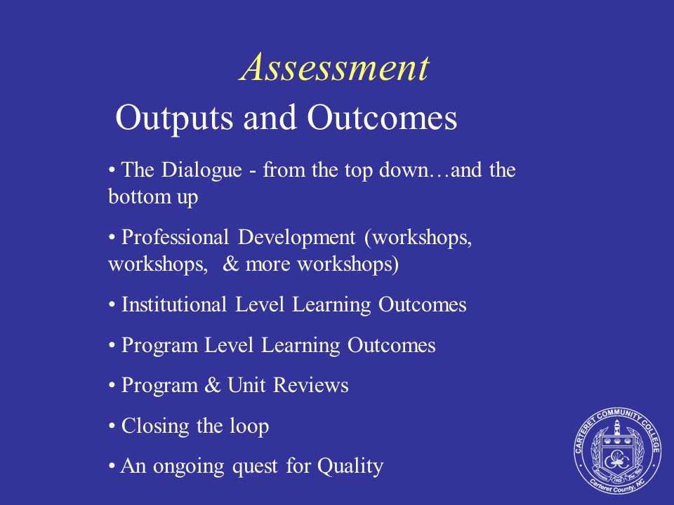 Assessment Outcomes Administrative Unit Outcomes Establishing the culture of assessment Defining the outcomes Identifying the assessments Collecting the data Analyzing the data Using the Results
