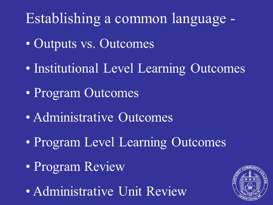 Establishing a common language - Outputs vs. Outcomes Institutional Level Learning Outcomes Program Outcomes Administrative Outcomes Program Level Lea