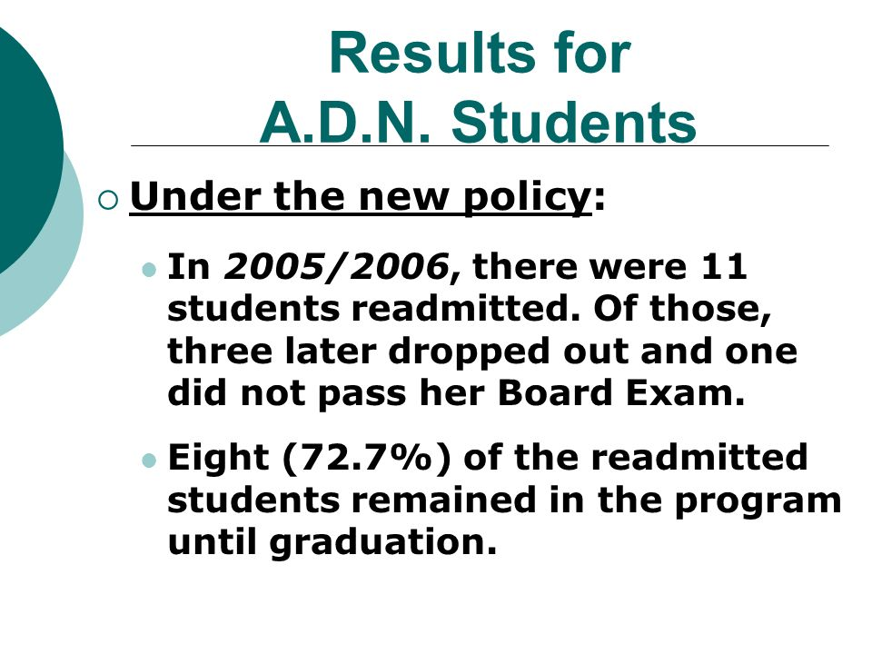 Results for A.D.N. Students Under the new policy: In 2005/2006, there were 11 students readmitted.