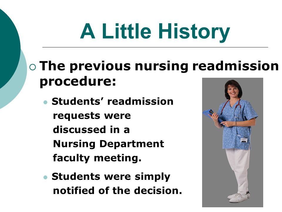 A Little History The previous nursing readmission procedure: Students readmission requests were discussed in a Nursing Department faculty meeting.