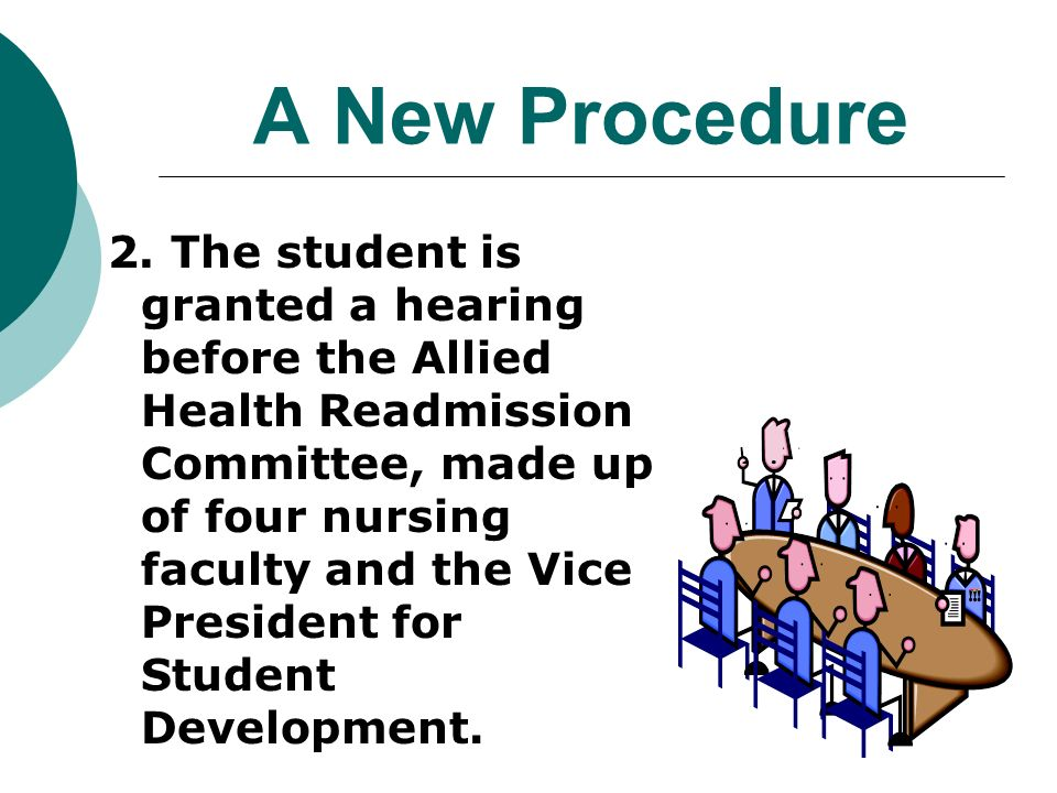 A New Procedure 2. The student is granted a hearing before the Allied Health Readmission Committee, made up of four nursing faculty and the Vice Presi