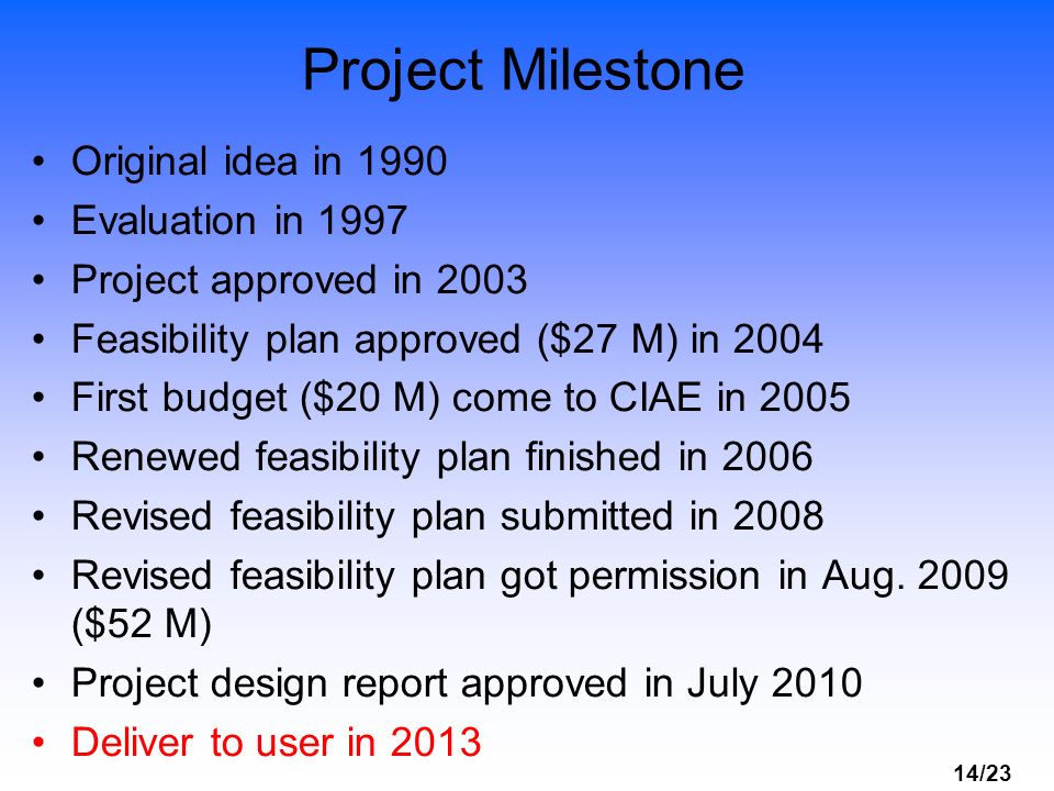 14/23 Project Milestone Original idea in 1990 Evaluation in 1997 Project approved in 2003 Feasibility plan approved ($27 M) in 2004 First budget ($20