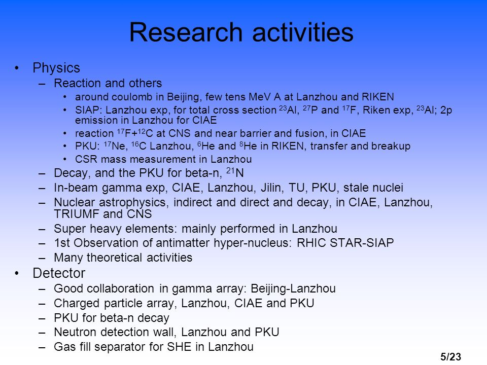 5/23 Research activities Physics –Reaction and others around coulomb in Beijing, few tens MeV A at Lanzhou and RIKEN SIAP: Lanzhou exp, for total cros