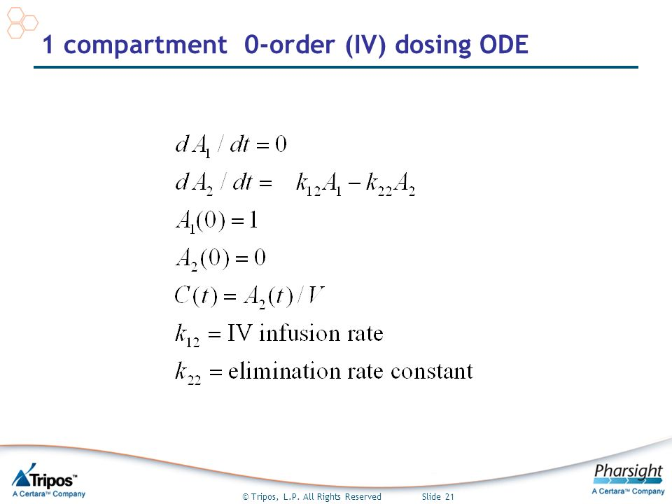 © Tripos, L.P. All Rights Reserved Slide 21 1 compartment 0-order (IV) dosing ODE
