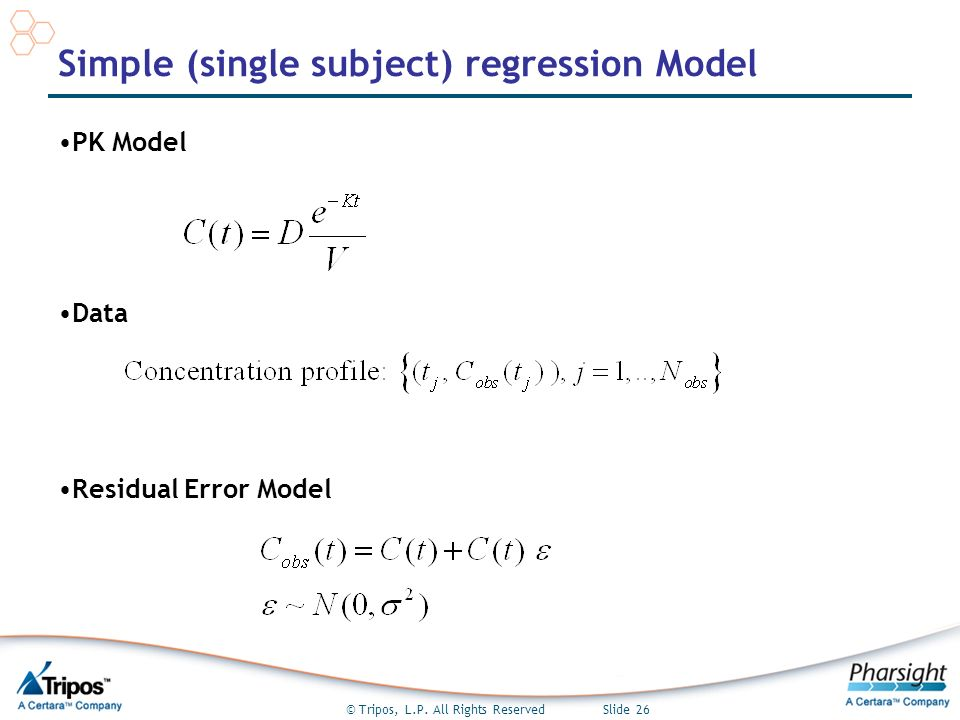 © Tripos, L.P. All Rights Reserved Slide 26 Simple (single subject) regression Model PK Model Data Residual Error Model