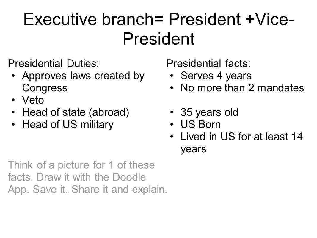 Executive branch= President +Vice- President Presidential Duties: Approves laws created by Congress Veto Head of state (abroad) Head of US military Pr