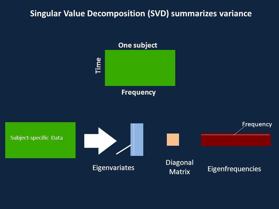Singular Value Decomposition (SVD) summarizes variance Subject-specific Data Eigenvariates Eigenfrequencies Diagonal Matrix Frequency. Frequency Time