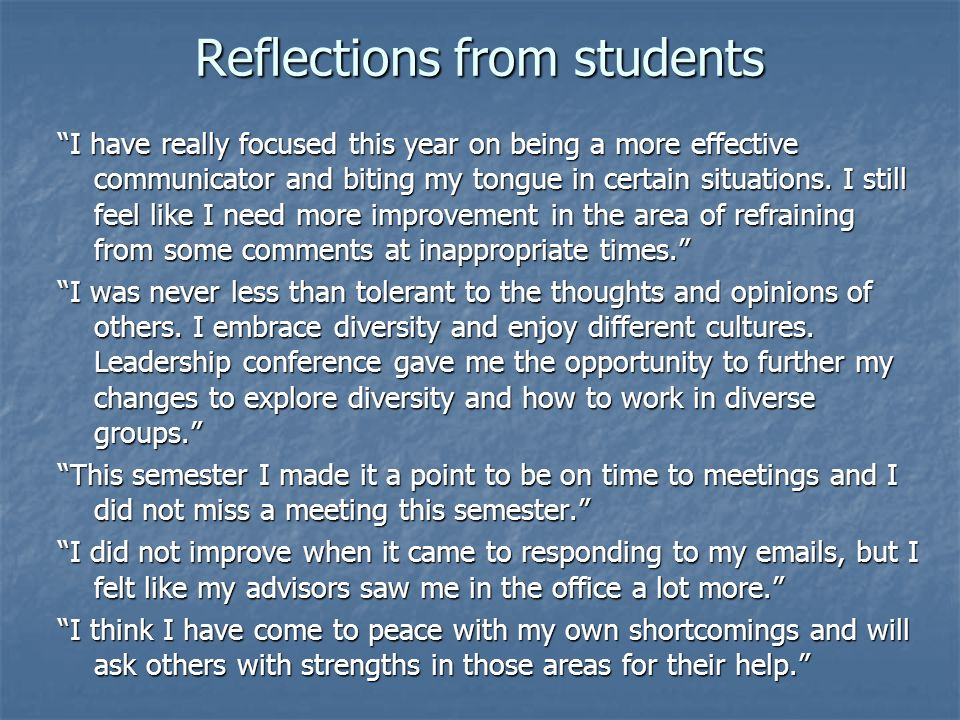 Phase II: Student Self-Assessment Again, affirmation of our experiences Again, affirmation of our experiences Led us to intentional conversations with students.