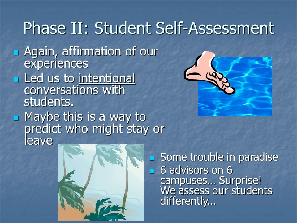 Phase II: Student Self-Assessment Again, affirmation of our experiences Again, affirmation of our experiences Led us to intentional conversations with