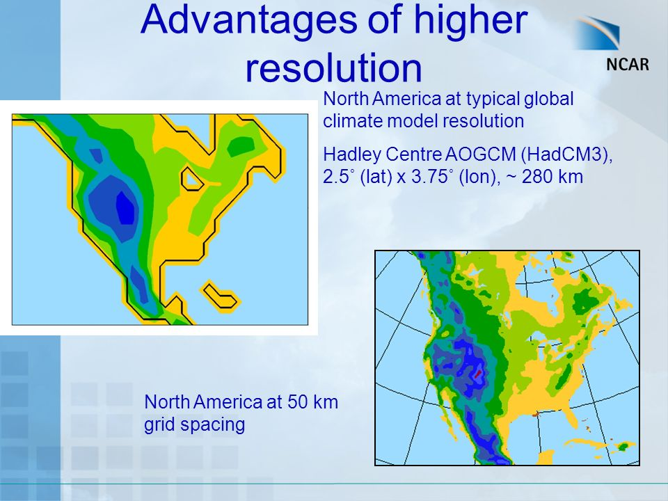 Advantages of higher resolution North America at 50 km grid spacing North America at typical global climate model resolution Hadley Centre AOGCM (HadCM3), 2.5˚ (lat) x 3.75˚ (lon), ~ 280 km