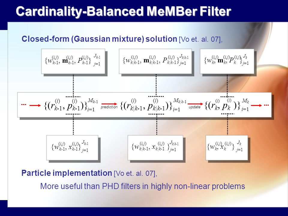 Cardinality-Balanced MeMBer Filter Cardinality-Balanced MeMBer Filter Closed-form (Gaussian mixture) solution [Vo et. al. 07], Particle implementation