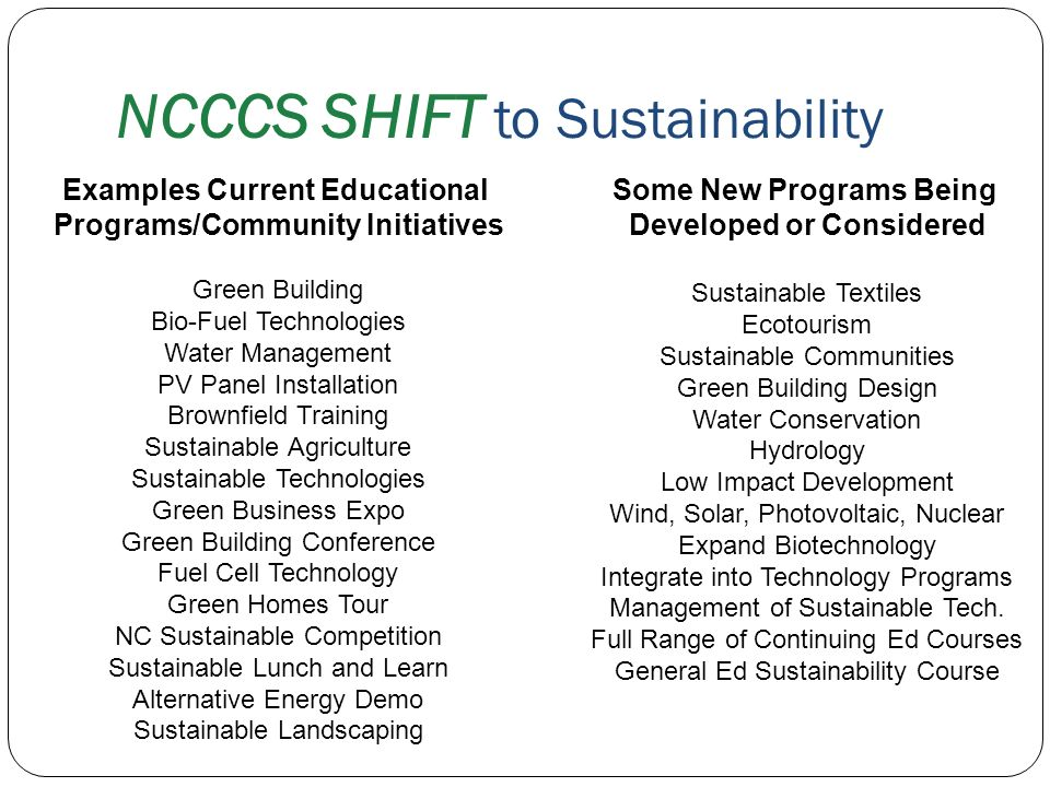 Examples Current Educational Programs/Community Initiatives Green Building Bio-Fuel Technologies Water Management PV Panel Installation Brownfield Tra