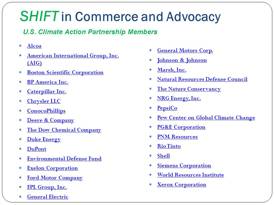 SHIFT in Commerce and Advocacy Alcoa American International Group, Inc. (AIG) American International Group, Inc. (AIG) Boston Scientific Corporation B