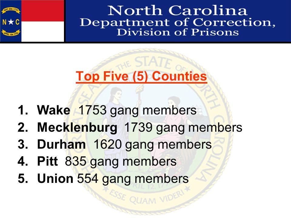 Top Five (5) Counties 1.Wake 1753 gang members 2.Mecklenburg 1739 gang members 3.Durham 1620 gang members 4.Pitt 835 gang members 5.Union 554 gang mem