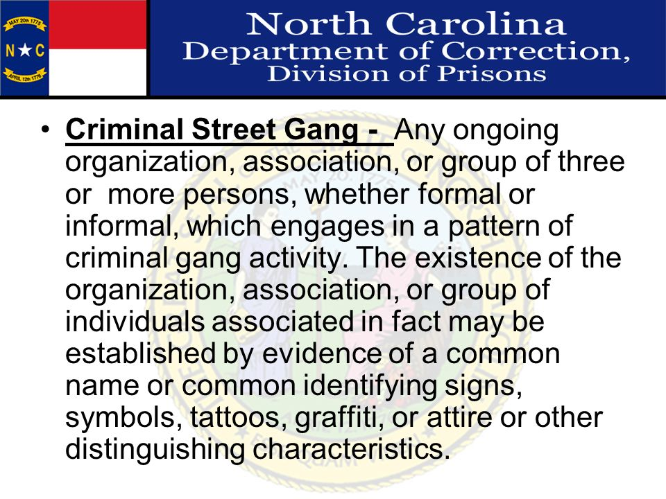 Criminal Street Gang - Any ongoing organization, association, or group of three or more persons, whether formal or informal, which engages in a patter