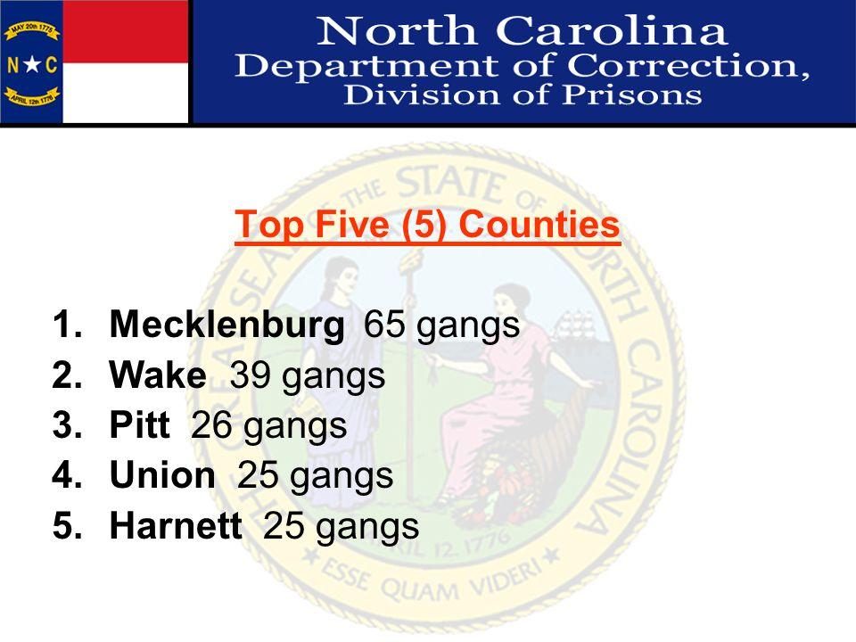 Top Five (5) Counties 1.Mecklenburg 65 gangs 2.Wake 39 gangs 3.Pitt 26 gangs 4.Union 25 gangs 5.Harnett 25 gangs