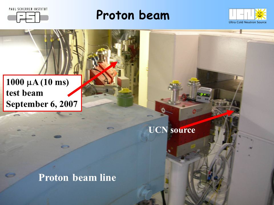 Proton beam line Proton beam 1000 A (10 ms) test beam September 6, 2007 UCN source