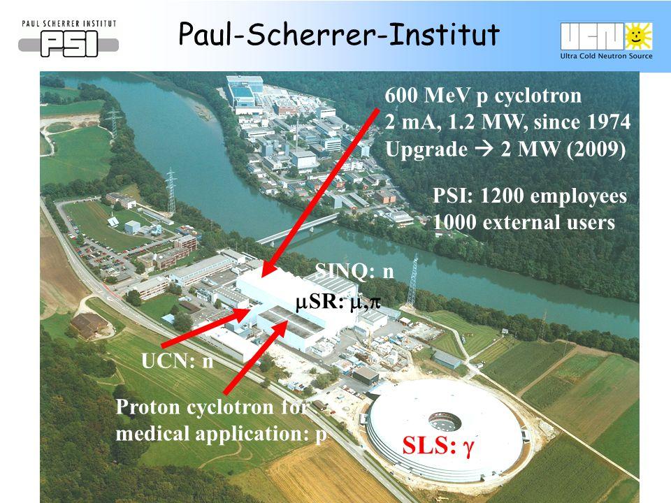 Ring cyclotron: 600MeV, 2mA 1.2MW (unique!) Proton accelerator @ PSI UCN Source nEDM experiment