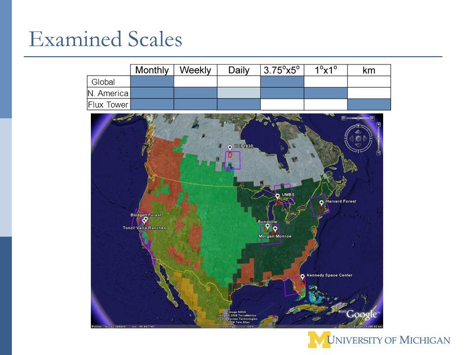 Examined Scales Flux Tower N. America Global