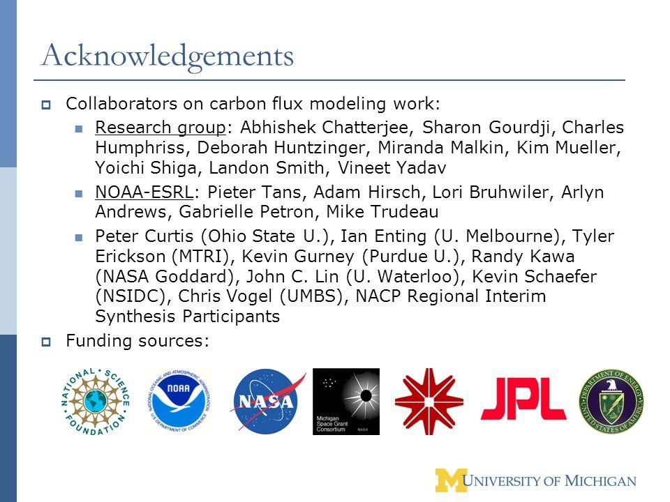 Acknowledgements Collaborators on carbon flux modeling work: Research group: Abhishek Chatterjee, Sharon Gourdji, Charles Humphriss, Deborah Huntzinge