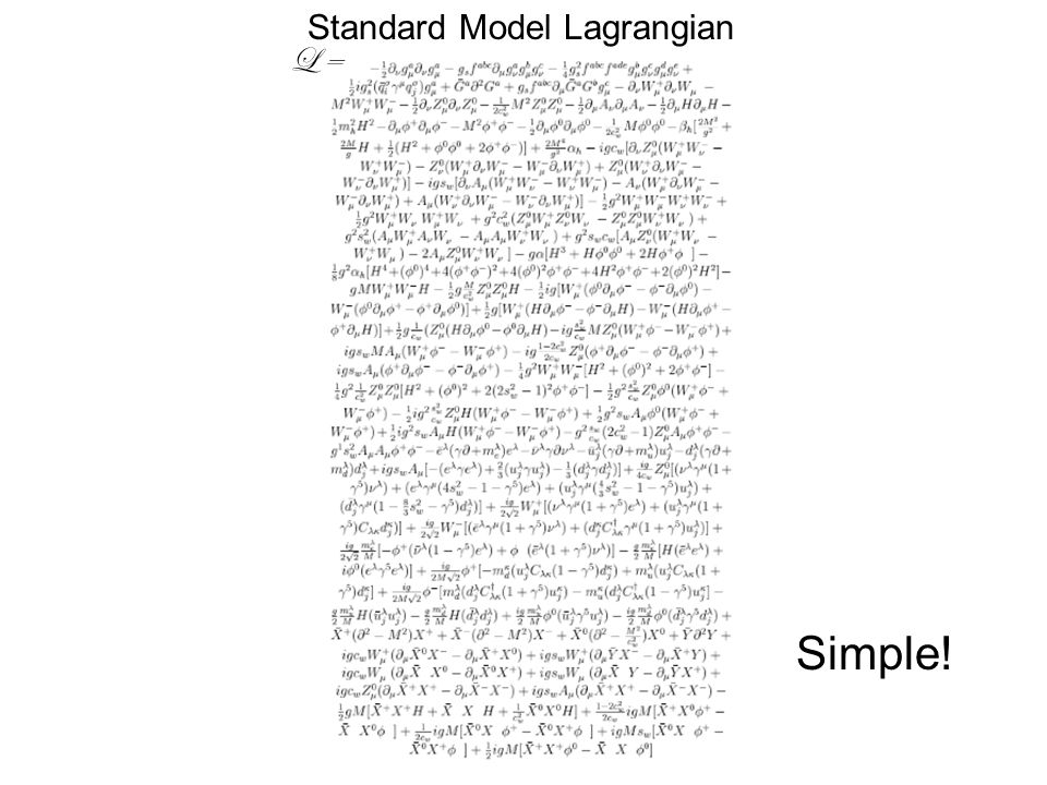 Standard Model Lagrangian Simple! L =