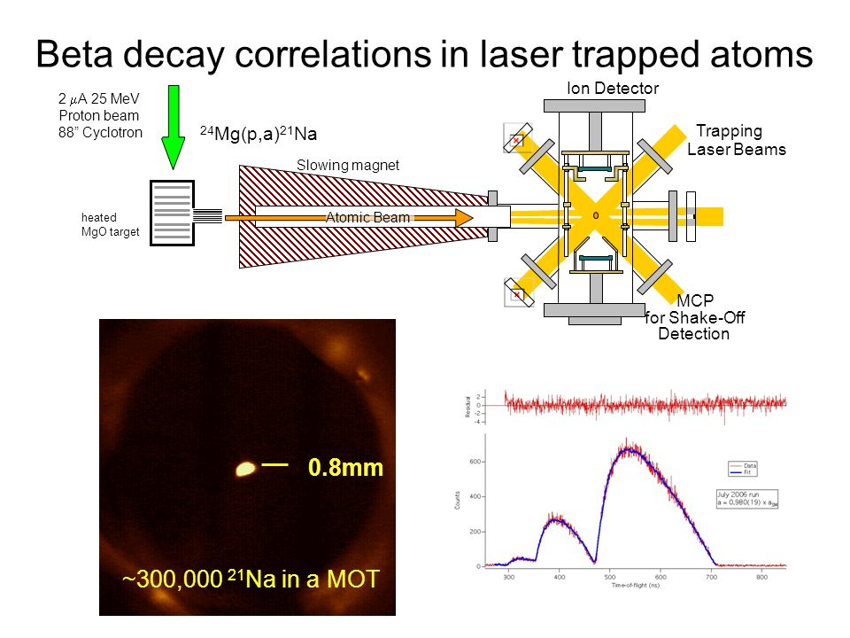 Beta decay correlations in laser trapped atoms 2 A 25 MeV Proton beam 88 Cyclotron heated MgO target Atomic Beam Slowing magnet Ion Detector MCP for Shake-Off Detection Trapping Laser Beams 24 Mg(p,a) 21 Na 0.8mm ~300,000 21 Na in a MOT