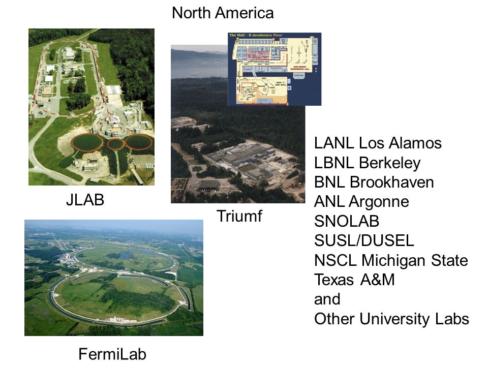 LANL Los Alamos LBNL Berkeley BNL Brookhaven ANL Argonne SNOLAB SUSL/DUSEL NSCL Michigan State Texas A&M and Other University Labs JLAB Triumf FermiLab North America