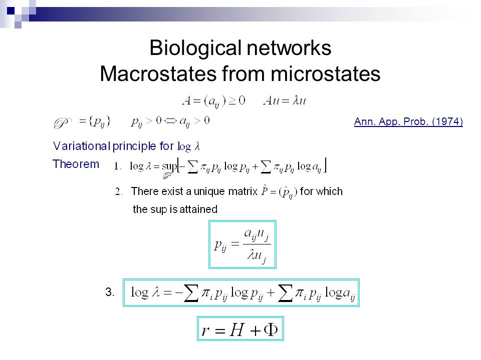 Biological networks Macrostates from microstates P P Ann. App. Prob. (1974) 3.