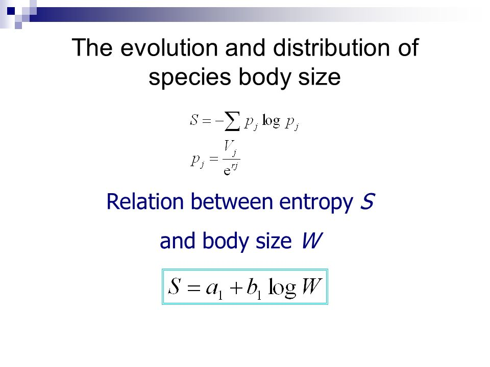 The evolution and distribution of species body size Relation between entropy S and body size W