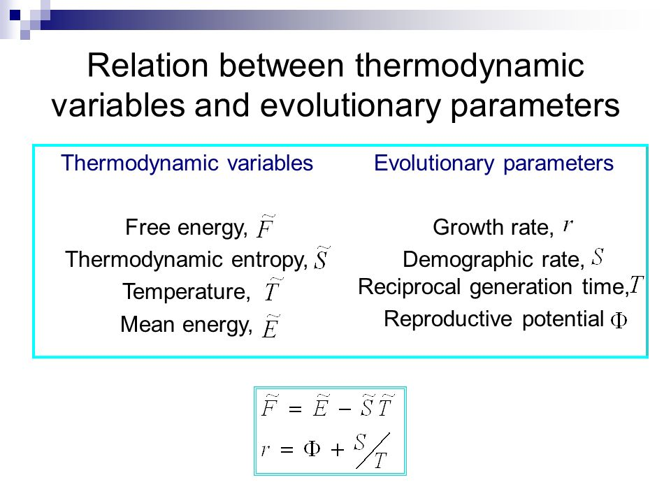 Relation between thermodynamic variables and evolutionary parameters Thermodynamic variables Free energy, Thermodynamic entropy, Temperature, Mean ene