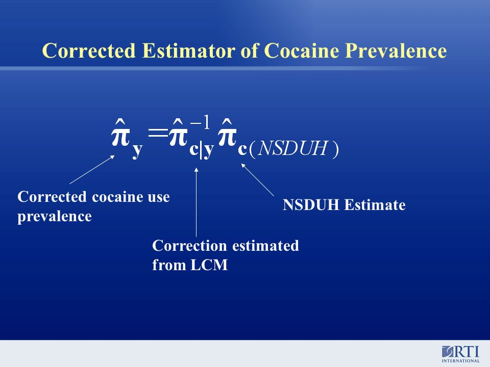 Corrected Estimator of Cocaine Prevalence Corrected cocaine use prevalence Correction estimated from LCM NSDUH Estimate