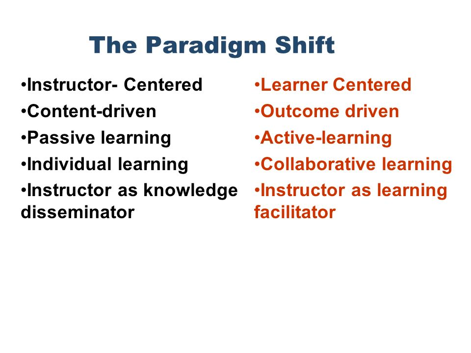 The Paradigm Shift Instructor- Centered Content-driven Passive learning Individual learning Instructor as knowledge disseminator Learner Centered Outcome driven Active-learning Collaborative learning Instructor as learning facilitator