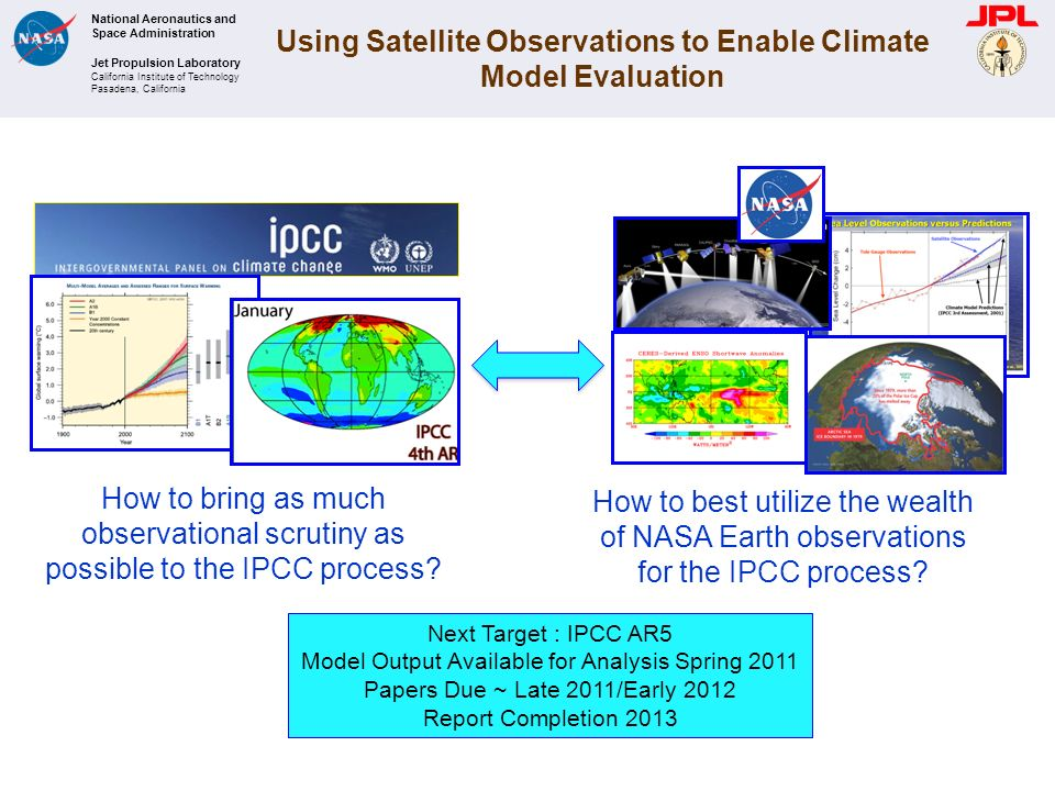 National Aeronautics and Space Administration Jet Propulsion Laboratory California Institute of Technology Pasadena, California Using Satellite Observations to Enable Climate Model Evaluation How to bring as much observational scrutiny as possible to the IPCC process.