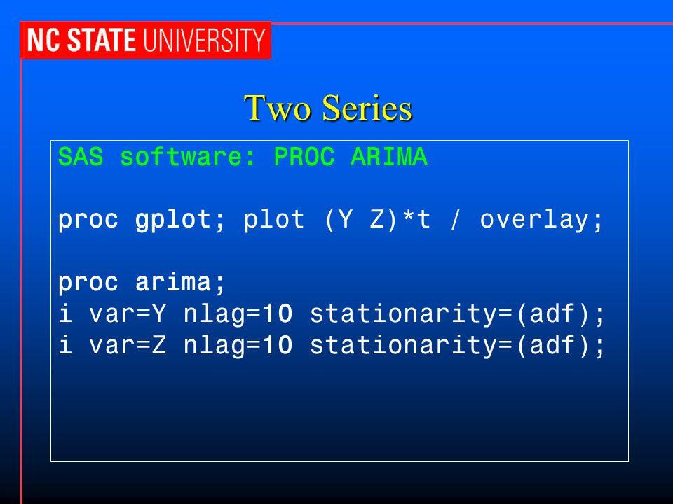 Two Series SAS software: PROC ARIMA proc gplot; plot (Y Z)*t / overlay; proc arima; i var=Y nlag=10 stationarity=(adf); i var=Z nlag=10 stationarity=(