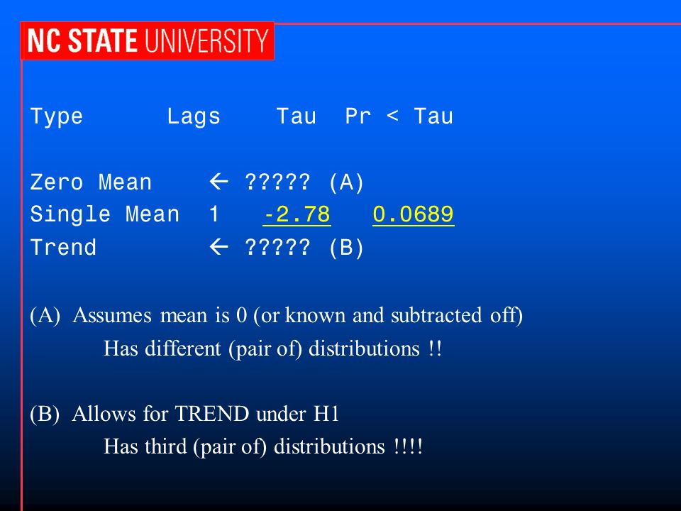 Type Lags Tau Pr < Tau Zero Mean ????? (A) Single Mean 1 -2.78 0.0689 Trend ????? (B) (A) Assumes mean is 0 (or known and subtracted off) Has differen