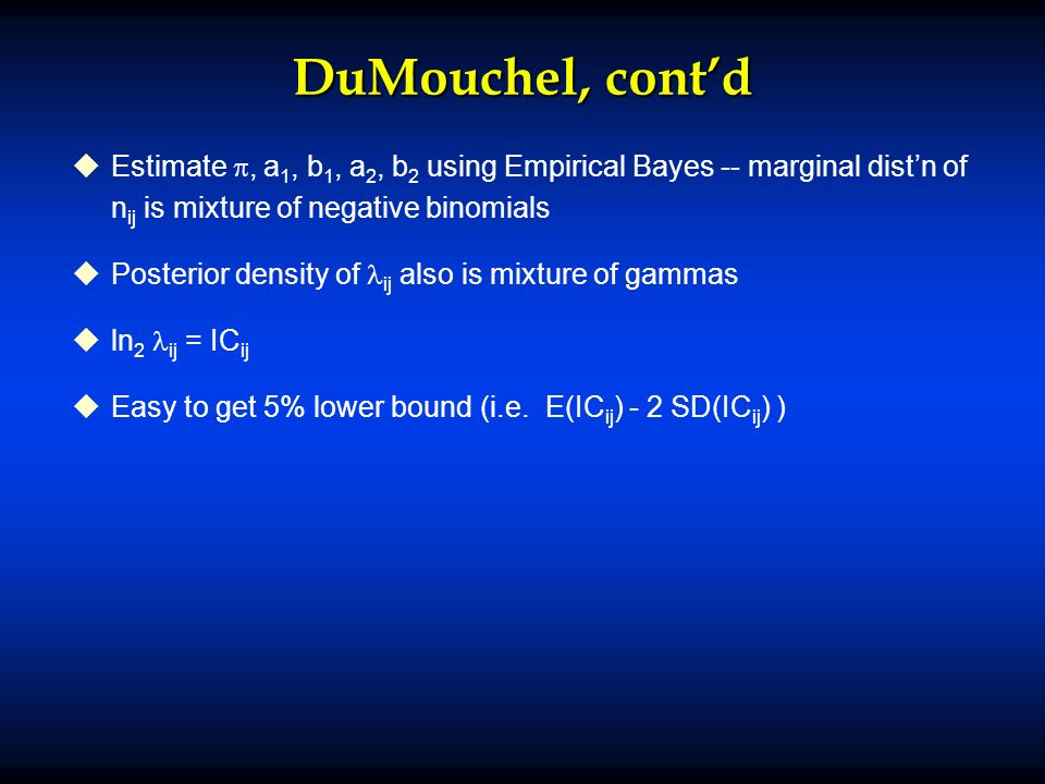 DuMouchel, contd u uEstimate, a 1, b 1, a 2, b 2 using Empirical Bayes -- marginal distn of n ij is mixture of negative binomials u uPosterior density of ij also is mixture of gammas u uln 2 ij = IC ij u uEasy to get 5% lower bound (i.e.